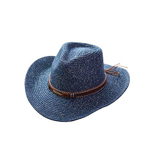 WREIJH Fashion Summer Cowboy Straw Hat Women Men Summer Outdoor Travel Beach Hats Unisex Solid Western Sunshade Cap,Dark Blue