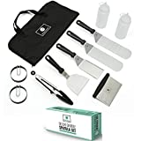 Professional Stainless Steel Griddle Cooking Kit - Grill Spatula Tongs Egg Ring Flipper