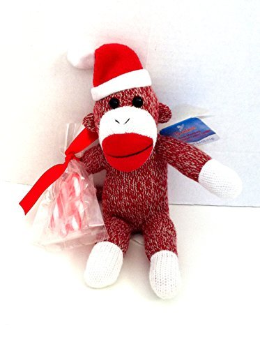 Christmas Holiday Santa Sock Monkey with Candy Cane by Galerie (Christmas Sock Monkey)