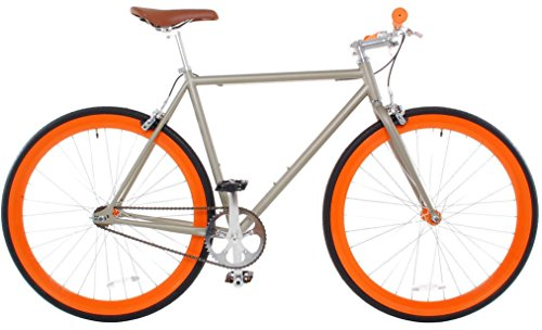 Vilano Rampage Fixed Gear Fixie Single Speed Road Bike (Champagne/Orange, 54cm)