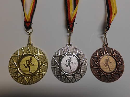 Fanshop Lünen Medaillen Set - 50mm Metall - Leichtathletik - Laufen - Lauf - Alu Emblem Gold, Silber, Bronze - Medaillenset - mit Emblem 25mm - Gold,Silber,Bronce - mit Medaillen-Band - (e225) -