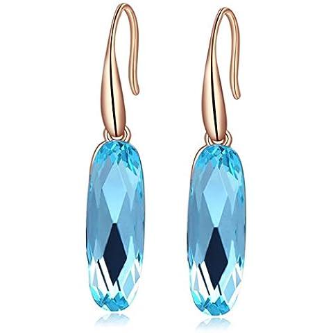 ROXI da donna con Swarovski, colore: blu/marrone, placcato in oro rosa, cristallo, orecchini a gancio - Orecchini Di Clip D'argento Ovali