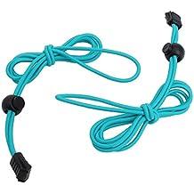 Cordones - TOOGOO(R) 1 par de cordones elasticos cordones de cierre de zapatos de 120cm de color azul + negro