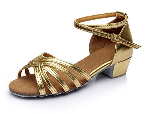 Vesi-Zapatos Baile Latín Tacón Niña/Mujer Oro Talla