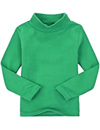 Casa Niños unisex Tops chica niña de manga larga camiseta de algodón cuello  alto Tee variedad 4fa91ef36f976