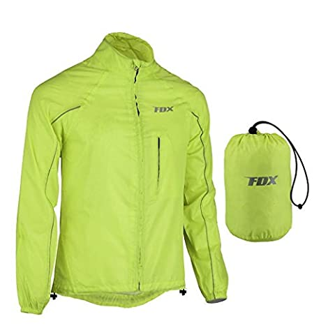 FDX Mens Waterproof Cycling Jacket Breathable Lightweight High Visibility Jacket (Yellow, Medium)