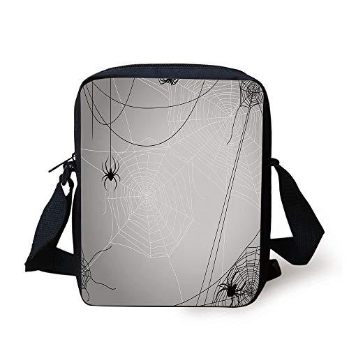CBBBB Spider Web,Spiders Hanging from Webs Halloween Inspired Design Dangerous Cartoon Icon Decorative,Grey Black White Print Kids Crossbody Messenger Bag Purse (Bag Paper Halloween Designs)
