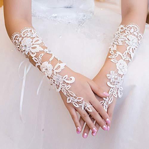 Ellenbogen Länge Handschuhe Rot - Fat MashroomWhite Woman Lace Hochzeit Handschuhe