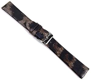Boa Replacement Band Watch Band Leather Kalf brown in Snake Print 20948S, width:14mm
