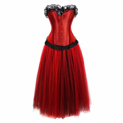 Damen Korsett Kleid lang Tutu Corsagenkleid Bustier Spitzen Corsage zum schnüren Rock Halloween Burlesque rot 3XL