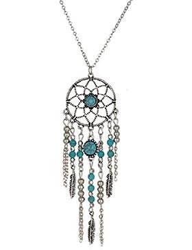 Sunnywill Frauen Retro Türkis Feder Anhänger lange Pullover Kette Halskette für Damen Mädchen