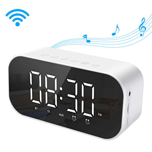 Laelr Despertador Digital con Altavoz Bluetooth Radio Despertador Doble Despertador Electrónico Soporte...