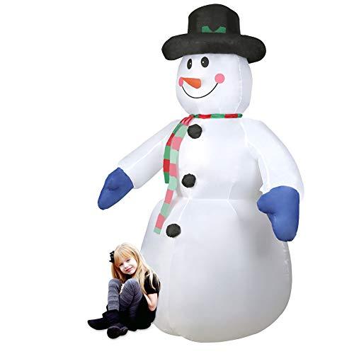 CCLIFE Muñeco inflable de nieve LED, 180cm o 240 cm, exterior, iluminación navideña, Color:Blanco001-240cm