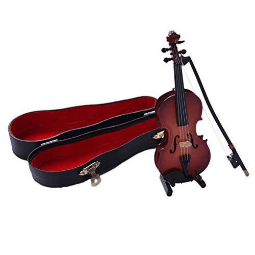 e Modell 8cm Mini Violine Mit Unterstützung Miniatur Hölzerne Musikinstrumente Sammlung Dekorative Ornamente Modell Dekor Geschenke Kinder Jungen Mädchen Spielzeug ()