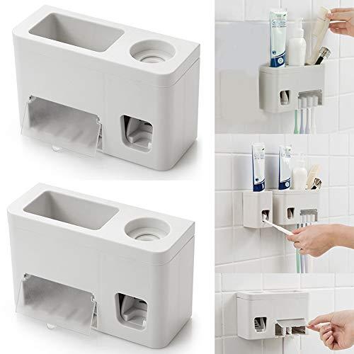 Soporte de pared para cepillos de dientes, dispensador de pasta de dientes, caja de almacenamiento de cepillos de cepillo, apriete automático cómodo con cubierta a prueba de polvo, gris claro, Tamaño libre