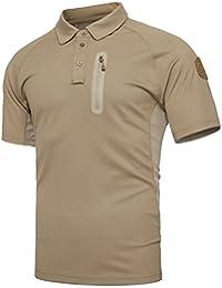 TACVASEN Militar Hombres Polo Camiseta Al Aire Libre Camo Manga Corta Camisa d9e974631cde1