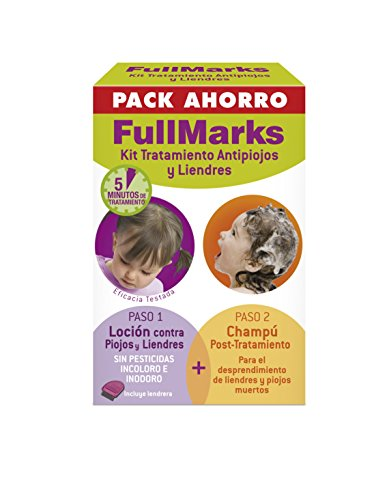 Full Marks Kit Tratamiento Antipiojos y Liendres con Loción - 100 ml, Champú - 150 ml y Lendrera