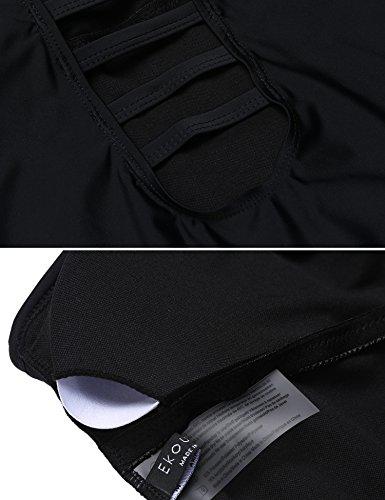 Unibelle Damen 3 Stück Bademode Badeanzug Tankinis Druck mit Strand Bikini Set Push UP + Slip + Top Schwarz-Weiß