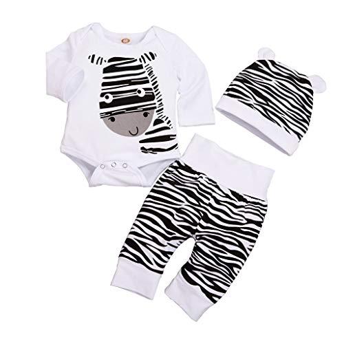 Lazzboy Neugeborenes Baby Jungen Mädchen Cartoon Zebra Print Tops Hut Outfits Set Katze T-Shirt Sommer Locker Punktdruck Kurz Niedlich Kleinkind Prinzessin Kleider Party Oberteile(Höhe80) (Papierkorb Kostüm)