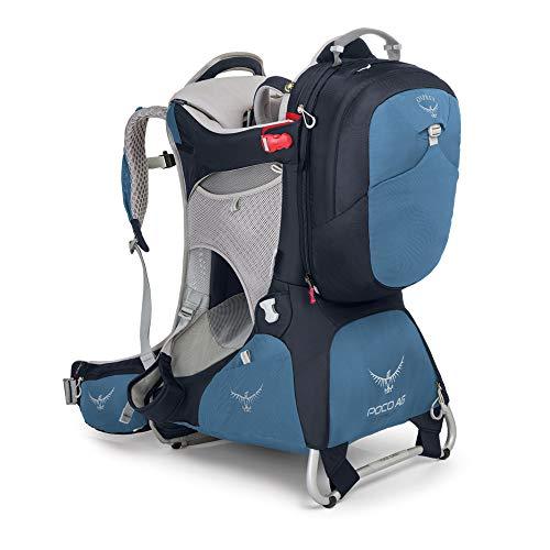 Osprey Poco AG Kindertragerucksack zum Wandern, unisex. Mit abnehmbarem 11-Liter-Tagesrucksack - Seaside Blue (O/S)