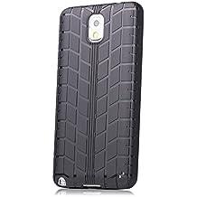 Samsung Galaxy Note 3 | neumáticos iCues caso de TPU Negro | [Protector de pantalla, incluyendo] caso de la piel Tread hombres de los individuos de gel de silicona de protección envolvente de la cubierta Funda Carcasa Bolsa Cover Case