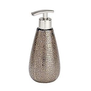 WENKO 21643100 Seifenspender Marrakesh, Flüssigseifen-Spender, Spülmittel-Spender Fassungsvermögen: 0,4 l, Keramik, 8 x 18,6 x 8 cm, braun