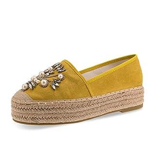 Stylische Espadrilles in Angesagten Pastell Farben mit Strass Steinen Blogger Style Gelb 39