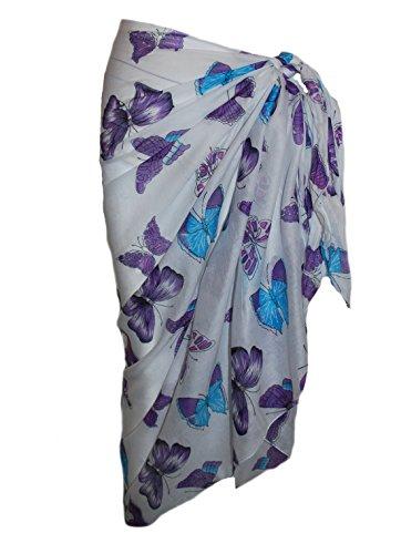 Weiß Baumwolle Sarong mit bunten Schmetterling Design Turquoise/Purple/Pink
