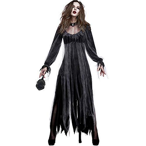 (MYLEDI Weibliches Horror Geist Brautkleid - Halloween Kostüm Kleiden Oben An,Black,L)