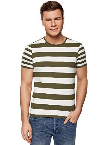 oodji Ultra Hombre Camiseta Recta a Rayas, Verde, ES 50 / M