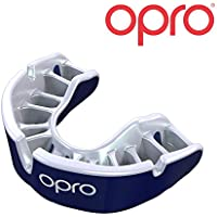 Opro, paradenti con adattamento automatico Junior Gold, per UFC, lacrosse, pallacanestro, MMA, calcio, rugby, arti marziali, hockey, sport di contatto (Blu.)