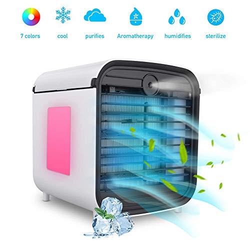 Air Cooler Mobile Klimaanlage, Mini-Luftkühler 4 in 1 Lüfter, Luftbefeuchter, Luftreiniger und Aromadiffusor, 7 Farben LED-Leuchten für Zuhause/Büro -