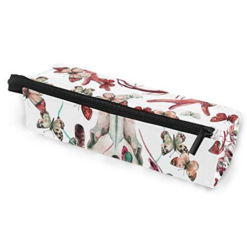 Ahomy Estuche para lápices con diseño de calavera de ciervo, mariposa, atrapasueños, bolsa de maquillaje de poliéster, bolsa para gafas de sol con cremallera y lazo para colgar