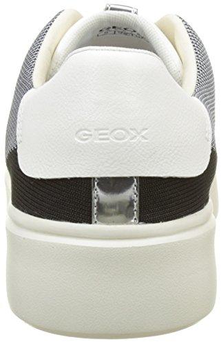 Geox Nhenbus D, Scarpe da Ginnastica Basse Donna Nero (Black/white)