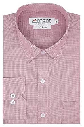 Arihant Purple Pin Checks 100% Cotton Full Sleeves Regular Fit Formal Shirt for Men (AR817909_38)