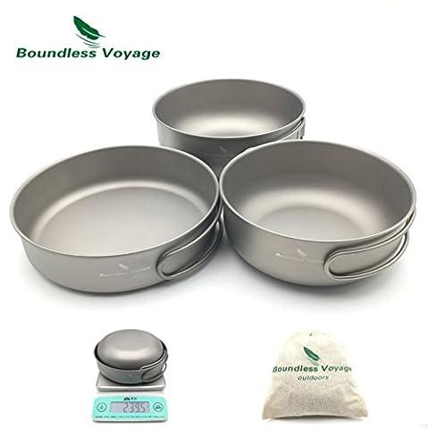 Outdoor Ultralight 3PCS Titanium Bowl Set Cookware Picnic Titanium Pan