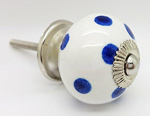 Blu scuro a pois pois rotondo vintage shabby chic cassettiera manopola maniglia in ceramica porta 45