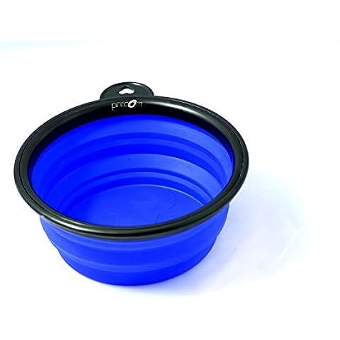 Viajes Tazón de la marca PRECORN Perro Gatos Mascotas plato del alimento tazón plegable cuenco de agua en el color azul