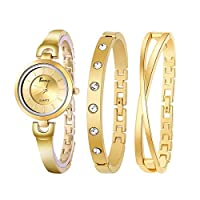 Women Watch By Berunz with Two Bracelets, Stainless steel, Gold color