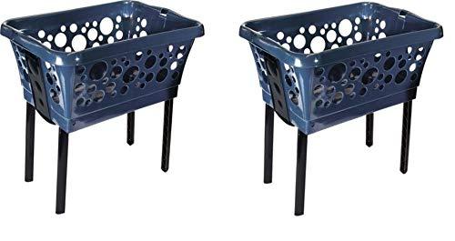 Wäschekorb-Set 2 Körbe aus Plastik mit Klappfüßen Stabil und stapelbar in Weiß, Blau, Schwarz, Grün, Rot, Gelb, Pink - Farbe Wählbar