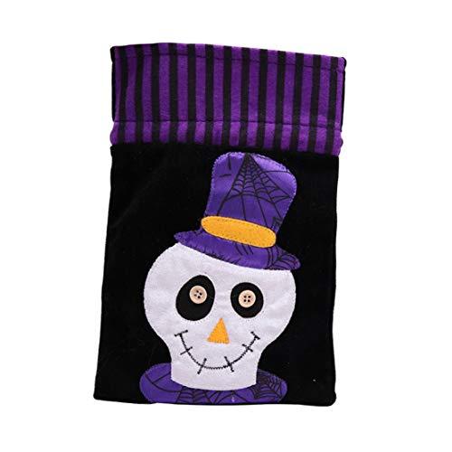 dchen Jungen Karikatur Lustig Gruselige Halloween Betteltasche | Hexen Kürbis Speicher Süßigkeit Tasche | Halloween Pumpkin Cartoon Candy Bags (B) ()
