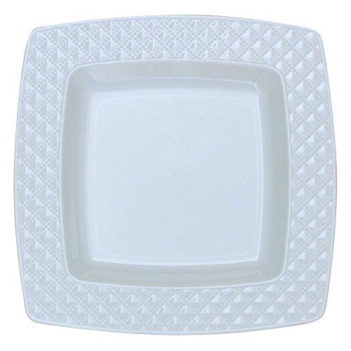 Decorline- Diamond Collection- Vaisselle de Luxe jetable carrée à Usage Unique-Party-Blanc avec Bord Motif Blanc -Plastique Rigide -10 pièces (Assiette 20x20 cm)