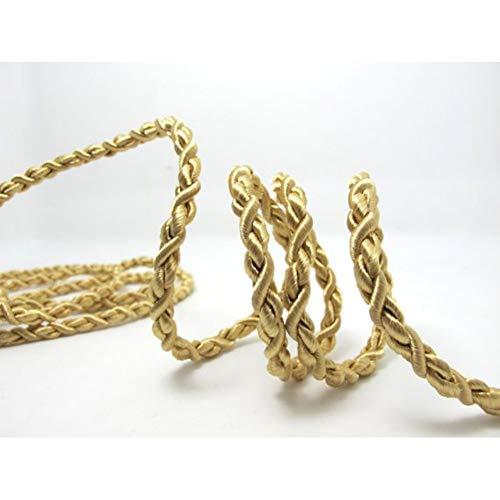 SHGE Kordel 5 Meter 5Mm Metallic Gold Rope Thong | Beige Braune Schnur | Seil | Dekorative Seilschnur | Griffschnur | Bastelmaterial - Beige Thong