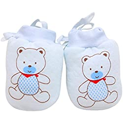 Newin Star Manopla de Tricot,Manopla para bebé de algodón Dibujo Animado Lindo para recién Nacidos 2Pcs (Oso)