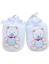 houzhi - Juego de 2 Guantes para bebés y niñas, sin arañazos, con cordón Ajustable (8 x 11 cm), Color Azul