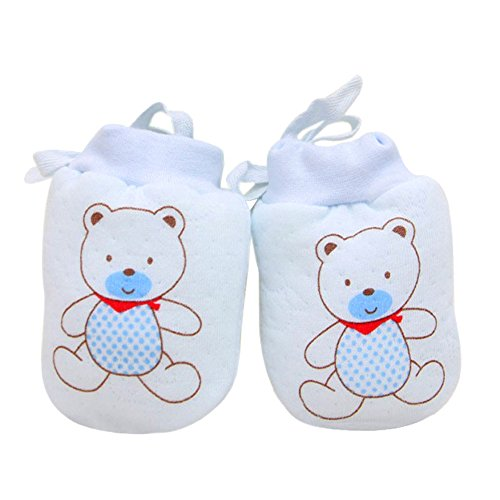 (hou zhi liang 2Baby Mädchen Handschuhe No Scratch Fäustlinge Füße Bezug-Set mit Kordelzug Verstellbar (8* 11cm Blau))