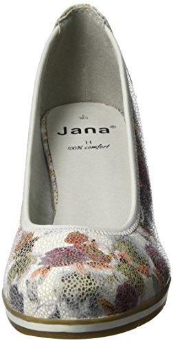 Jana 22408, Escarpins Femme Blanc (White Flower 149)