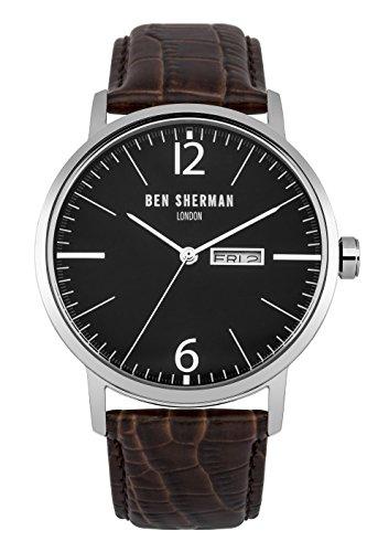 Ben Sherman hommes de montre à quartz avec affichage analogique et bracelet en cuir marron Cadran Noir wb046br
