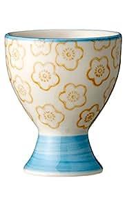 Bloomingville emma coquetier en porcelaine peinte à la main bleu/orange)