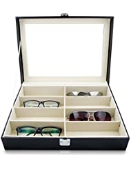VENKON - Vitrina para 8 Gafas Caja con Vidrio de Ventana para Almacenamiento y Presentación de Anteojos Organizador - Cuero Sintético